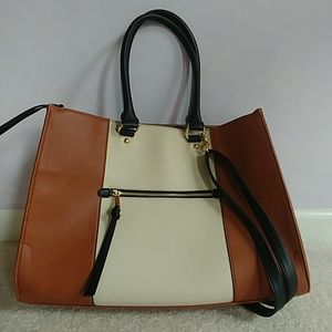 Tan/ White Colorblocked Work or School Tote